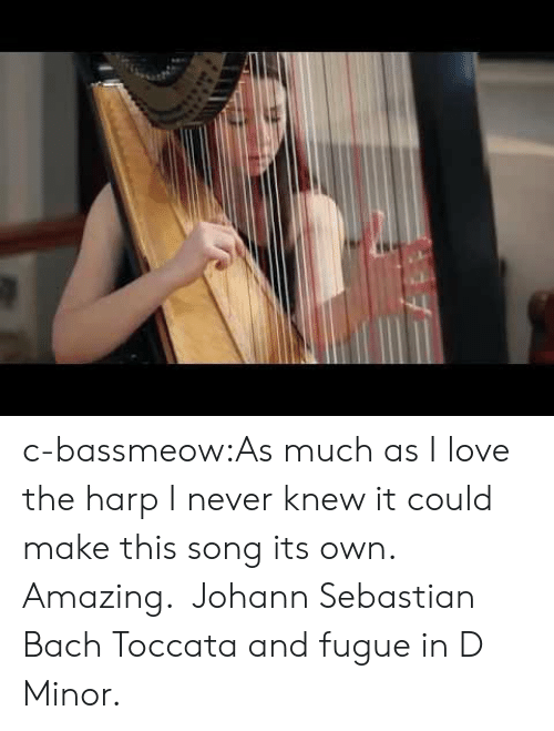 Love, Tumblr, and Blog: c-bassmeow:As much as I love the harp I never knew it could make this song its own. Amazing.  Johann Sebastian Bach Toccata and fugue in D Minor.