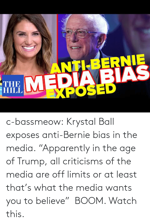 "Age Of: c-bassmeow:  Krystal Ball  exposes anti-Bernie bias in the media. ""Apparently in the age of Trump, all criticisms of the media are off limits or at least that's what the media wants you to believe""  BOOM. Watch this."
