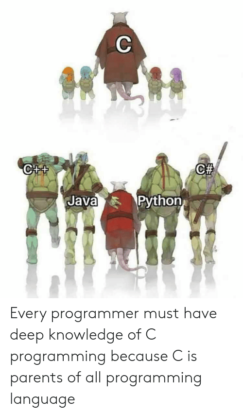 Java: C  CA  C++  Python  Java Every programmer must have deep knowledge of C programming because C is parents of all programming language