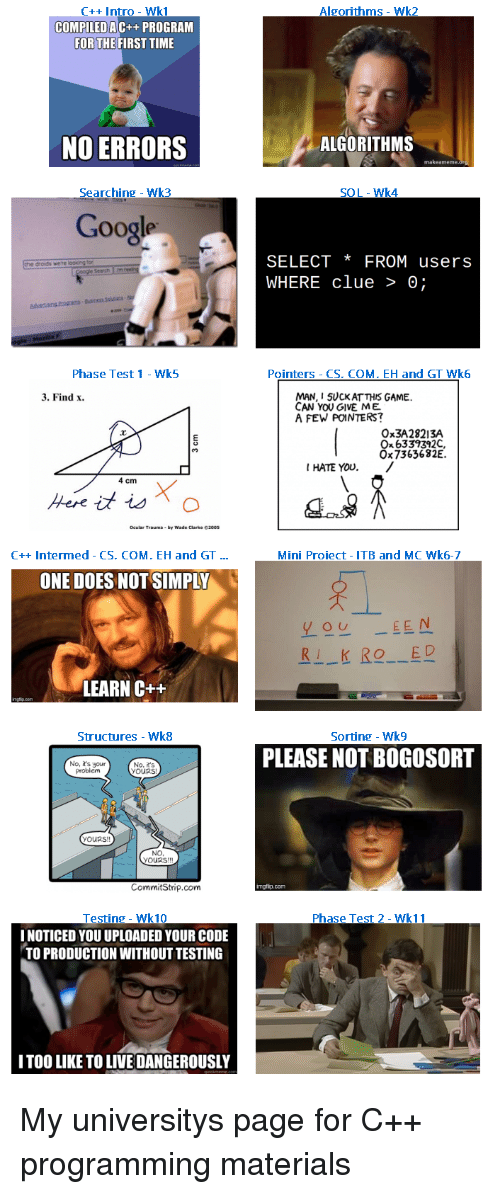 live dangerously: C++ Intro - Wk1  Algorithms - Wk2  COMPILEDA  C++ PROGRAM  FOR THEFIRST TIME  NO ERRORS  ALGORITHMS  makeameme  Searching Wk3  SOL-Wk4  Google  SELECT *FROM users  WHERE clue > 0;  droids were  Search m  Phase Test 1 Wk5  Pointers - CS. COM. EH and GT Wk6  MAN, I 5UCKAT THIS GAME  CAN YOU GIVE ME  A FEW POINTERS?  3. Find x  Ox3A28213A  Ox 6339392C  Ox7363682E.  I HATE YOU./  4 cm  C++ Intermed - CS. COM. EH and GT...  Mini Proiect- ITB and MC Wk6-7  ONE DOES NOT SIMPLY  yo EEN  RI KIO ED  LEARN C++  tructures - Wk8  Sorting - Wk9  PLEASE NOT BOGOSOR  No, it's your  problem  No, R's  yOURS!  yOURs  NO  YOURS!!  CommitStrip.com  mgfip.com  Testing- Wk10  I NOTICED YOU UPLOADED YOUR CODE  TO PRODUCTION WITHOUT TESTING  Phase Test 2- Wk11  ITOO LIKE TO LIVE DANGEROUSLY My universitys page for C++ programming materials