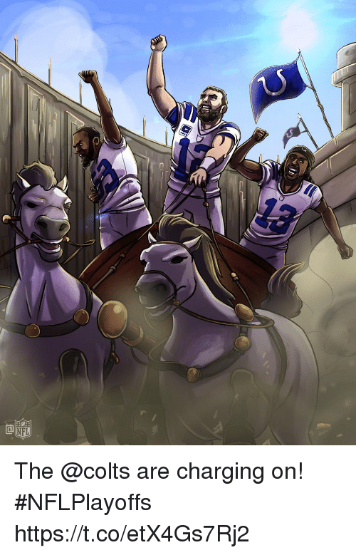 Indianapolis Colts, Memes, and Nfl: Ca  NFL The @colts are charging on! #NFLPlayoffs https://t.co/etX4Gs7Rj2