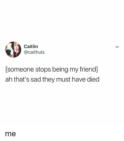 Relatable, Sad, and Friend: Caitlin  @caithuls  [someone stops being my friend]  ah that's sad they must have died me