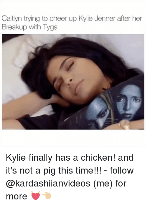 Cheerfulness: Caitlyn trying to cheer up Kylie Jenner after her  Breakup with Tyga Kylie finally has a chicken! and it's not a pig this time!!! - follow @kardashiianvideos (me) for more 💓👈🏼