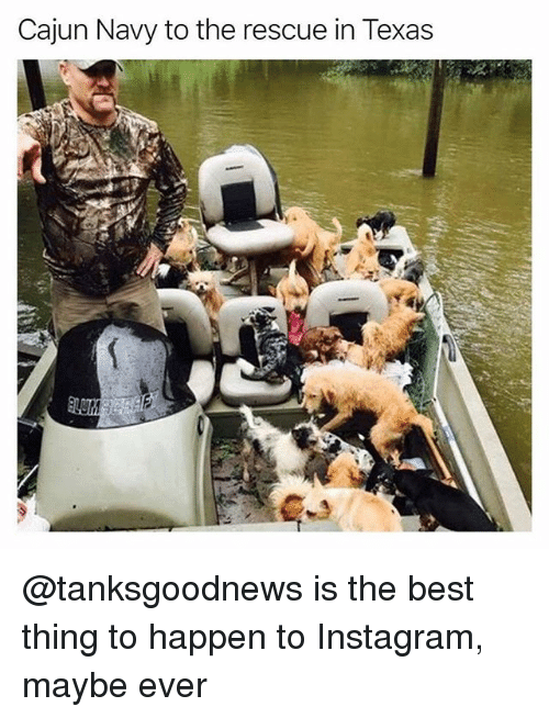 Funny, Instagram, and Best: Cajun Navy to the rescue in Texas @tanksgoodnews is the best thing to happen to Instagram, maybe ever