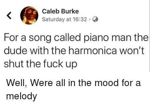 harmonica: Caleb Burke  Saturday at 16:32.  For a song called piano man the  dude with the harmonica won't  shut the fuck up Well, Were all in the mood for a melody