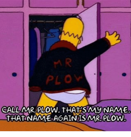 Smy: CALL MR. PLOW. THAT SMy NAME  THAT NAME AGAIN ISNAR, PLOW