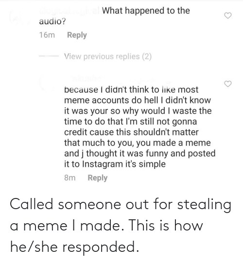 Stealing A: Called someone out for stealing a meme I made. This is how he/she responded.