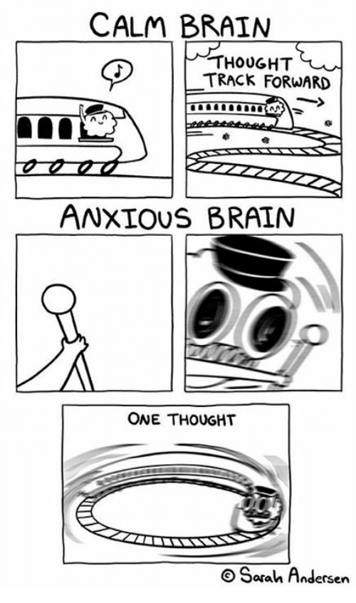 Memes, Brain, and Thought: CALM BRAIN  D |  THOUGHT  TRACK FORWARD  ANXIOUS BRAIN  ONE THOUGHT  O Sarah Andersen