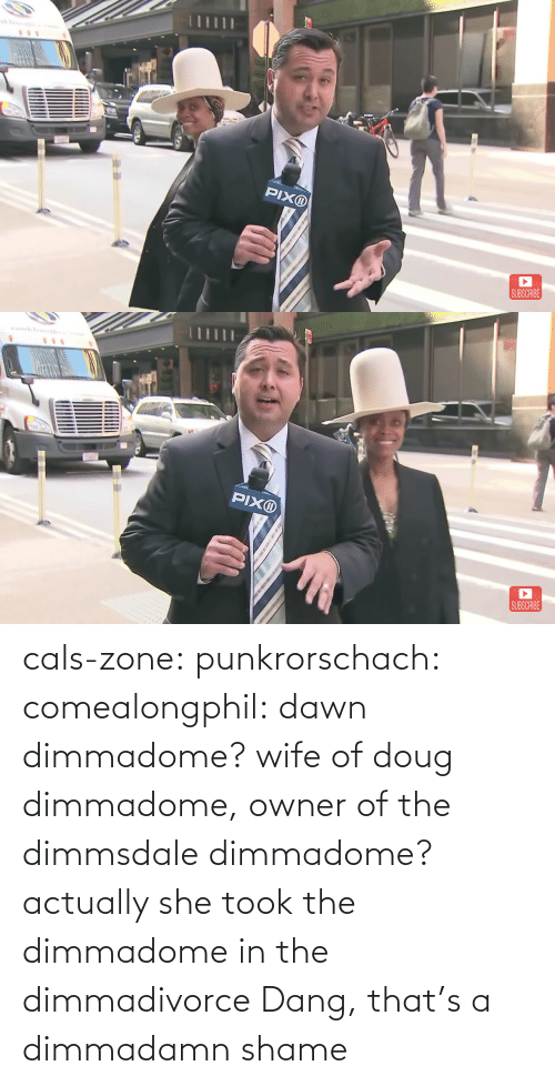 owner: cals-zone: punkrorschach:  comealongphil: dawn dimmadome? wife of doug dimmadome, owner of the dimmsdale dimmadome?  actually she took the dimmadome in the dimmadivorce     Dang, that's a dimmadamn shame