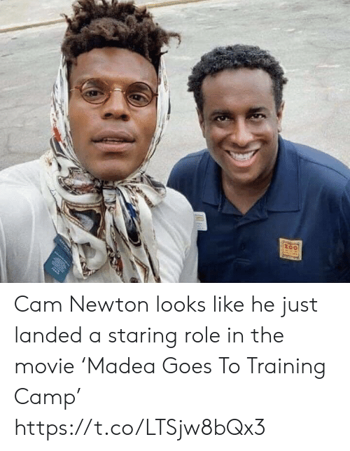 Cam Newton, Football, and Nfl: Cam Newton looks like he just landed a staring role in the movie 'Madea Goes To Training Camp' https://t.co/LTSjw8bQx3