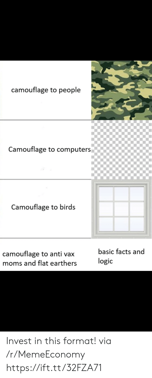 Computers: camouflage to people  Camouflage to computers  Camouflage to birds  basic facts and  camouflage to anti vax  logic  moms and flat earthers Invest in this format! via /r/MemeEconomy https://ift.tt/32FZA71