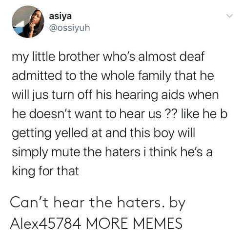 hear: Can't hear the haters. by Alex45784 MORE MEMES