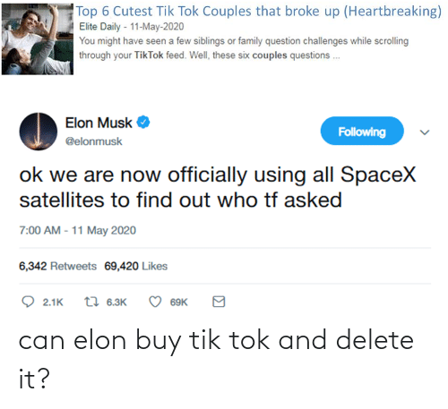 Tik: can elon buy tik tok and delete it?