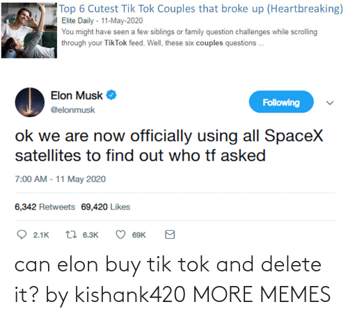 Tik: can elon buy tik tok and delete it? by kishank420 MORE MEMES