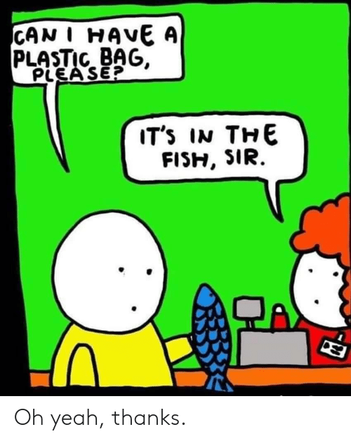Yeah, A Plastic Bag, and Plastic: CAN I HAVE A  PLASTIC BAG,  PLEA SE?  IT's IN THE Oh yeah, thanks.
