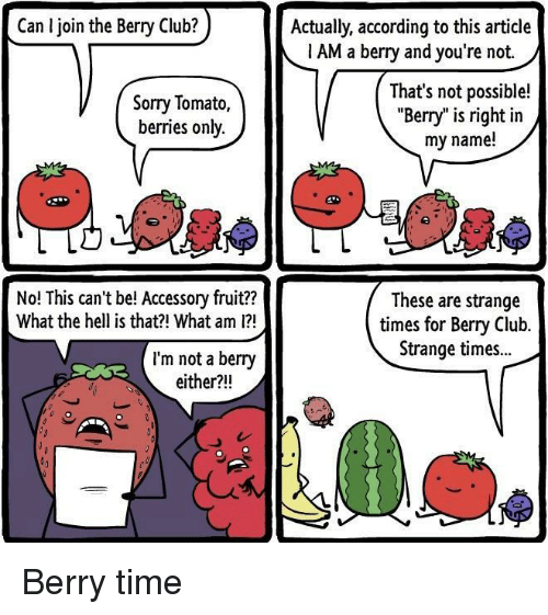 "Not Possible: Can I join the Berry Club?  Actually, according to this article  1 AM a berry and you're not.  Sorry Tomato,  berries only.  That's not possible!  ""Berry"" is right in  my name!  No! This can't be! Accessory fruit??  What the hell is that?! What am 1?  These are strange  times for Bery Club.  Strange times..  I'm not a berry  either?!! Berry time"