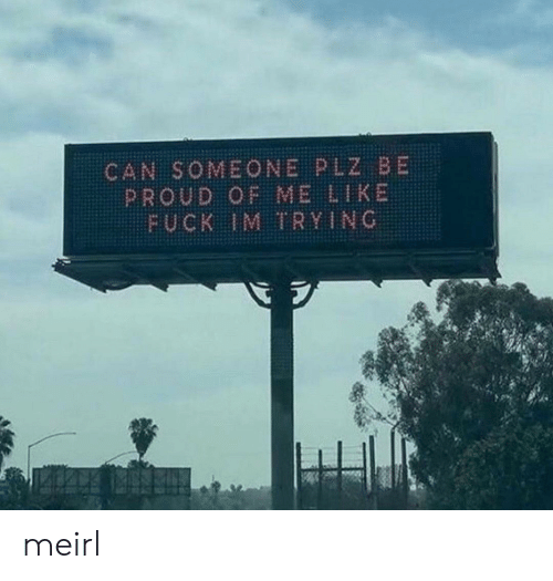Fuck, Proud, and MeIRL: CAN SOMEONE PLZ BE  PROUD OF ME LIKE  FUCK IM TRYING meirl