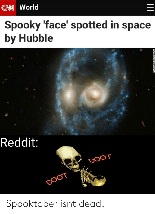 hubble: CAN World  Spooky 'face' spotted in space  by Hubble  Reddit:  DOOT  DOOT  ESA HUBBLLE NASA Spooktober isnt dead.