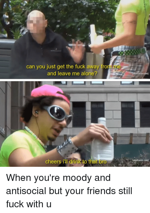 Antisociable: can you just get the fuck away fro  and leave me alone?  cheers iul drink to that  bro  duitswim.c  adult swim com When you're moody and antisocial but your friends still fuck with u