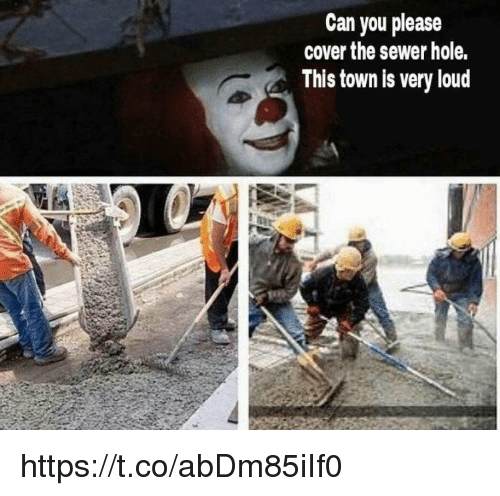 Memes, 🤖, and Can: Can you please  cover the sewer hole.  This town is very loud https://t.co/abDm85iIf0