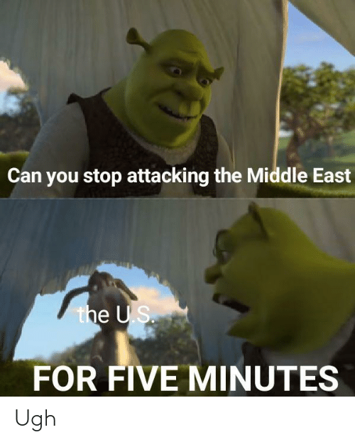 Middle: Can you stop attacking the Middle East  the US.  FOR FIVE MINUTES Ugh