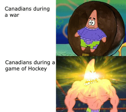 Hockey: Canadians during  a war  Canadians during a  game of Hockey