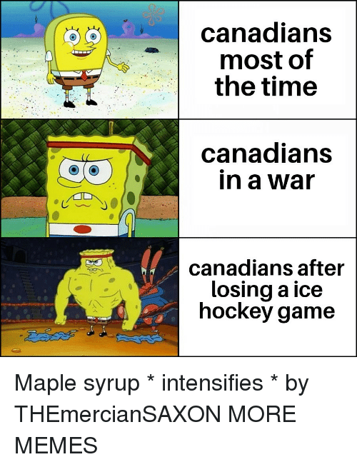 maple: canadians  most of  the time  canadians  in a war  canadians after  losing a ice  hockey game Maple syrup * intensifies * by THEmercianSAXON MORE MEMES