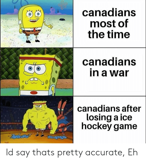 Hockey: canadians  most of  the time  canadians  in a war  canadians after  losing a ice  hockey game Id say thats pretty accurate, Eh