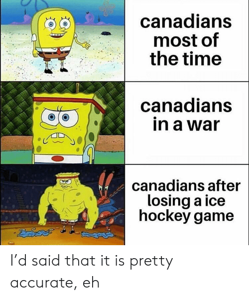 Hockey: canadians  most of  the time  canadians  in a war  canadians after  losing a ice  hockey game I'd said that it is pretty accurate, eh
