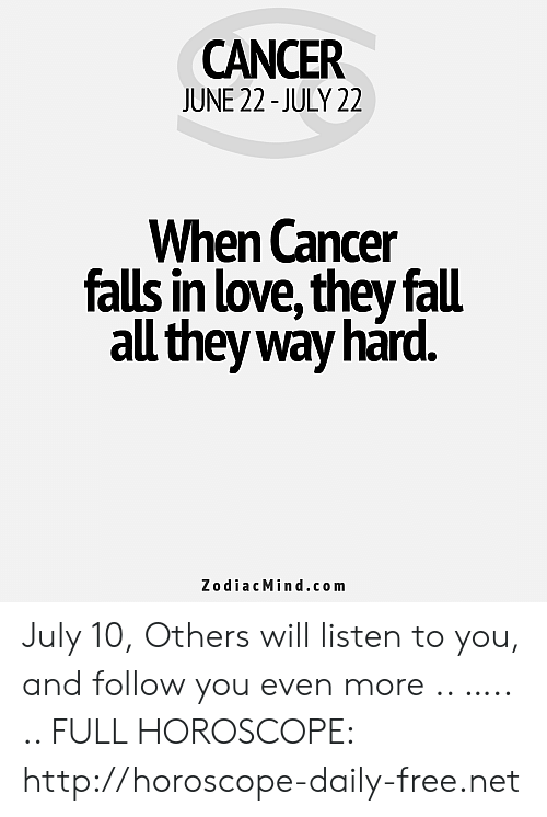 CANCER JUNE 22-July 22 When Cancer Falls in Love They Fall