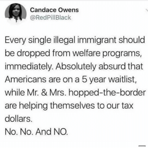 Absurd: Candace Owens  @RedPillBlack  Every single illegal immigrant should  be dropped from welfare programs  immediately. Absolutely absurd that  Americans are on a 5 year waitlist,  while Mr. & Mrs. hopped-the-border  are helping themselves to our tax  dollars  No. No. And NO