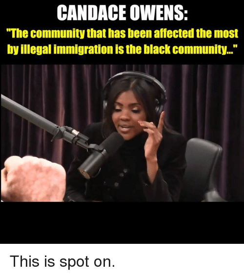 """Community, Memes, and Black: CANDACE OWENS:  """"The community that has been affected the most  by illegal immigration is the black community..."""" This is spot on."""
