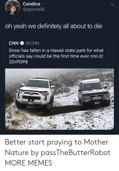 Hawaii: Candice  @spinnellii  oh yeah we definitely all about to die  CNN @CNN  Snow has fallen in a Hawaii state park for what  officials say could be the first time ever cnn.it/  2DrPDP6  J 542 Better start praying to Mother Nature by passTheButterRobot MORE MEMES