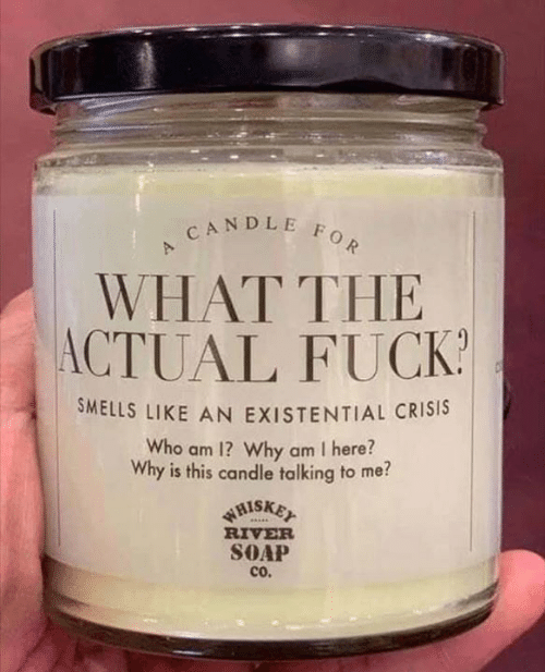 Memes, Fuck, and 🤖: CANDLE FOR  WHAT THE  ACTUAL FUCK  SMELLS LIKE AN EXISTENTIAL CRISIS  Who am 1? Why am I here?  Why is this candle talking to me?  WHISKET  RIVER  SOAP  cO.