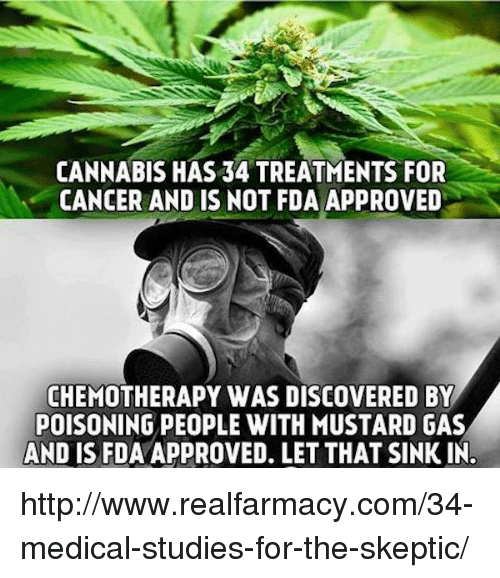 Approvation: CANNABIS HAS 34 TREATMENTS FOR  CANCER AND IS NOT FDA APPROVED  CHEMOTHERAPY WAS DISCOVERED BY  POISONING PEOPLE WITH MUSTARD GAS  AND IS FDAAPPROVED. LET THAT SINKIN. http://www.realfarmacy.com/34-medical-studies-for-the-skeptic/