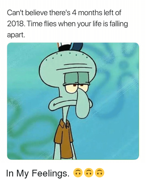 Life Is Falling Apart: Can't believe there's 4 months left of  2018. Time flies when your life is falling  apart. In My Feelings. 🙃🙃🙃