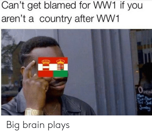 ww1: Can't get blamed for WW1 if you  aren't a country after WW1  OeEn  Men  Aet-Thue  Tri-Sal  Snday Big brain plays