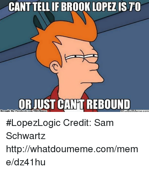 Brook Lopez: CANT IF BROOK LOPEZ IS TO  OR JUST CANT REBOUND  Brouaht BE Face  book  WhatIollM  com/NBA Memes #LopezLogic