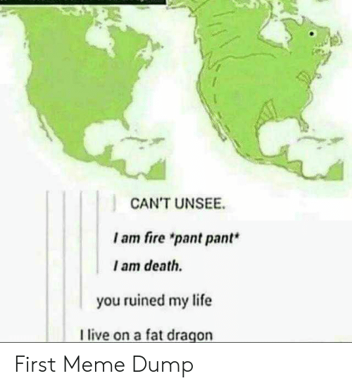 """Fire, Life, and Meme: CAN'T UNSEE  I am fire """"pant pant*  I am death.  you ruined my life  live on a fat dragon First Meme Dump"""