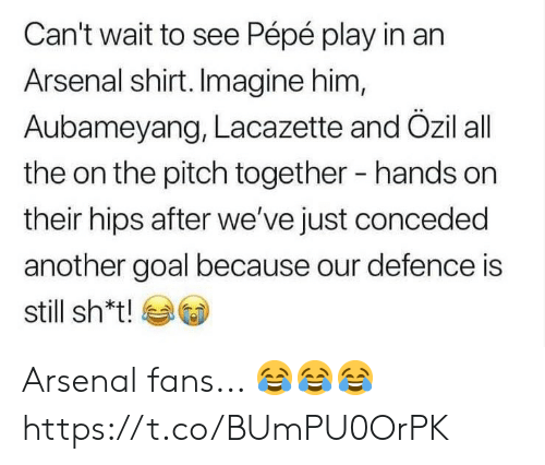 Pepe: Can't wait to see Pépé play in an  Arsenal shirt. Imagine him,  Aubameyang, Lacazette and Özil all  the on the pitch together  hands on  their hips after we've just conceded  another goal because our defence is  still sh*t! Arsenal fans... 😂😂😂 https://t.co/BUmPU0OrPK