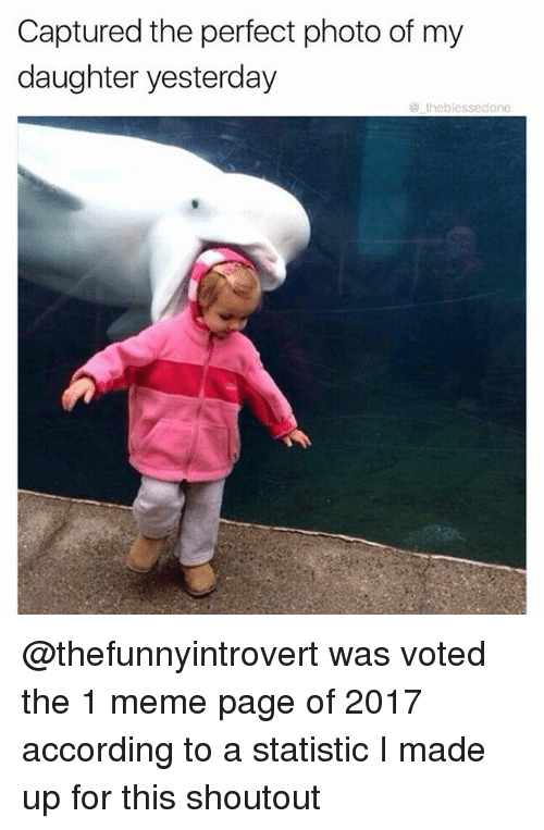 Statistic: Captured the perfect photo of my  daughter yesterday  @ theblessedone @thefunnyintrovert was voted the 1 meme page of 2017 according to a statistic I made up for this shoutout