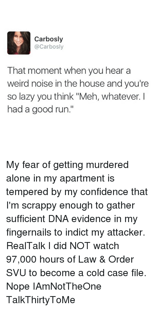 "Meh, Memes, and Law & Order: Carbosly  Carbosly  That moment when you hear a  weird noise in the house and you're  so lazy you think ""Meh, whatever.  had a good run. My fear of getting murdered alone in my apartment is tempered by my confidence that I'm scrappy enough to gather sufficient DNA evidence in my fingernails to indict my attacker. RealTalk I did NOT watch 97,000 hours of Law & Order SVU to become a cold case file. Nope IAmNotTheOne TalkThirtyToMe"
