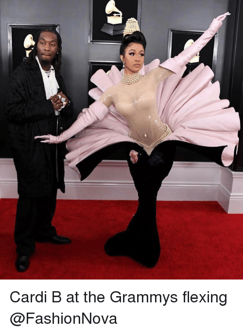 Funny, Grammys, and The Grammys: Cardi B at the Grammys flexing @FashionNova
