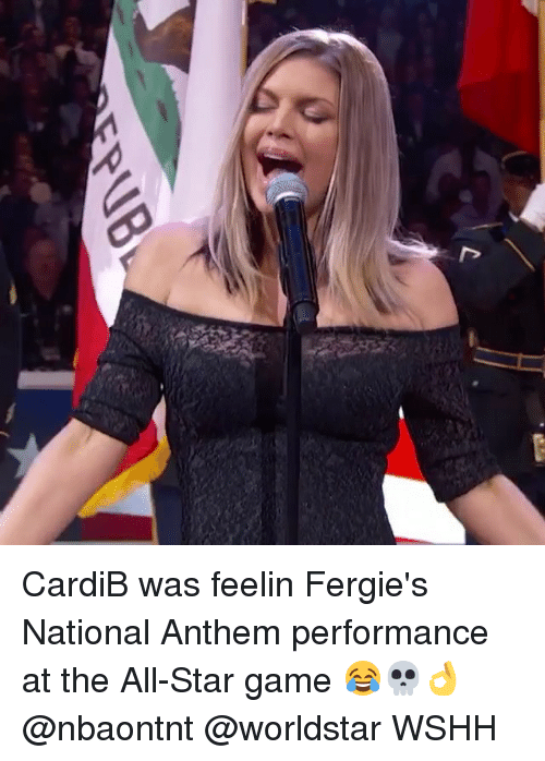 All Star Game: CardiB was feelin Fergie's National Anthem performance at the All-Star game 😂💀👌 @nbaontnt @worldstar WSHH