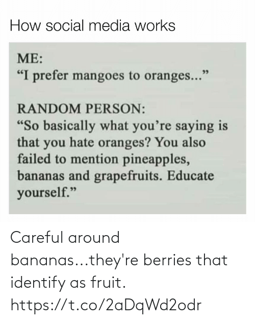 around: Careful around bananas...they're berries that identify as fruit. https://t.co/2aDqWd2odr
