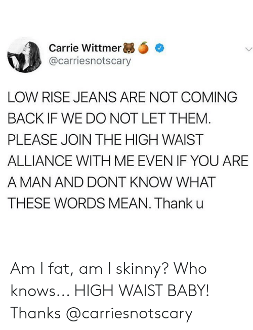 not coming back: Carrie Wittmer ,.  @carriesnotscary  LOW RISE JEANS ARE NOT COMING  BACK IF WE DO NOT LET THEM  PLEASE JOIN THE HIGH WAIST  ALLIANCE WITH ME EVEN IF YOU ARE  A MAN AND DONT KNOW WHAT  THESE WORDS MEAN. Thank u Am I fat, am I skinny? Who knows... HIGH WAIST BABY! Thanks @carriesnotscary