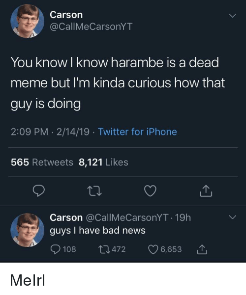 Bad, Iphone, and Meme: Carson  @CallMeCarsonYT  You know l know harambe is a dead  meme but I'm kinda curious how that  guy is doing  2:09 PM . 2/14/19 Twitter for iPhone  565 Retweets 8,121 Likes  Carson @CallMeCarsonYT 19h  guys I have bad news  108  472 6,653 MeIrl