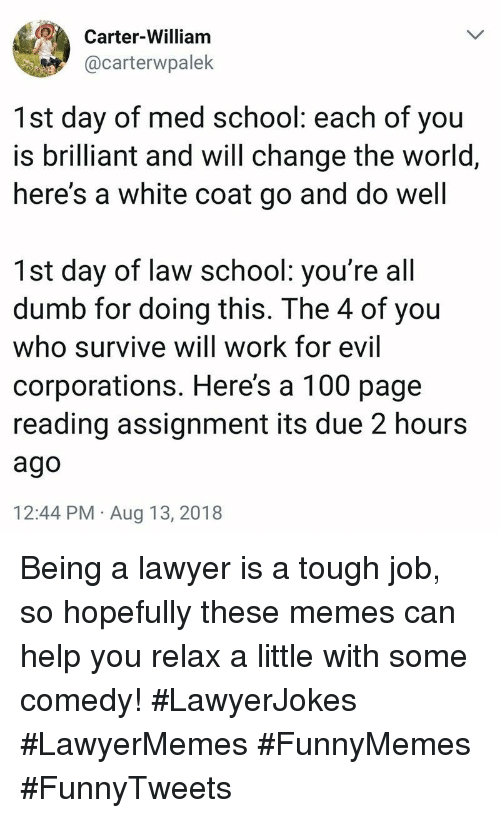 Anaconda, Dumb, and Lawyer: Carter-William  @carterwpalek  1st day of med school: each of you  is brilliant and will change the world,  here's a white coat go and do well  1st day of law school: you're all  dumb for doing this. The 4 of you  who survive will work for evil  corporations. Here's a 100 page  reading assignment its due 2 hours  ago  12:44 PM Aug 13, 2018 Being a lawyer is a tough job, so hopefully these memes can help you relax a little with some comedy! #LawyerJokes #LawyerMemes #FunnyMemes #FunnyTweets