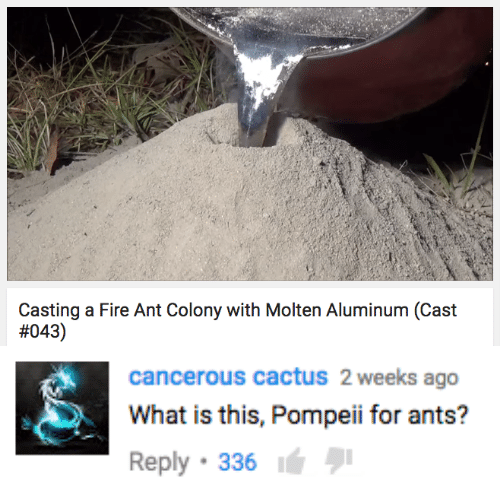 Fire, What Is, and Ants: Casting a Fire Ant Colony with Molten Aluminum (Cast  #043)   cancerous cactuS 2 weeks ago  What is this, Pompeii for ants?  Reply 336