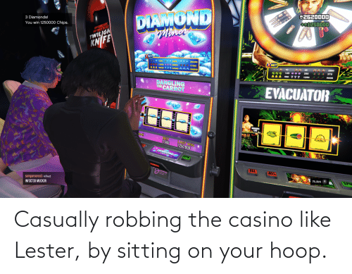 Robbing: Casually robbing the casino like Lester, by sitting on your hoop.